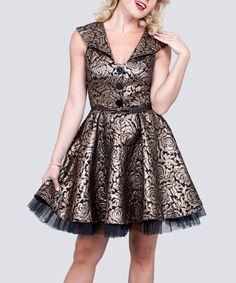 Look at this #zulilyfind! Black & Gold Floral Lace A-Line Dress - Women & Plus #zulilyfinds