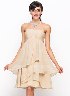 A-Line/Princess Scoop Neck Knee-Length Chiffon Tulle Cocktail Dress With Ruffle Beading Sequins (016055935)
