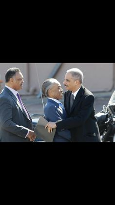Nothing says race baiters like these 3 liberal lunatics. Eric Holder Atty Gen. Former radical Black Panther member. embracing 2 of the worst Racists in the nation... wake up people who the holy hell do we have in charge of this nation...every Conservative ..every American should be scared and take action.. THEY have our country Obama is closer to radical Muslims than he is to the GOP....something is dearly wrong here!!!