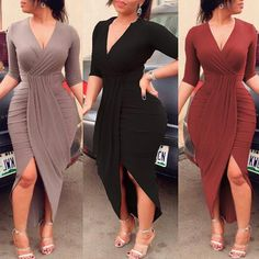 Elegant Women Pleated Slit Bodycon Dress