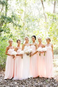Simplke Light Blush Pink Floor Length Chiffon Bridesmaid Dresses