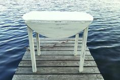 Drop Leaf Table, Vintage Circular Wood Table, All Purpose Table, Painted White, Distressed, Cottage, Country, Beach House Decor