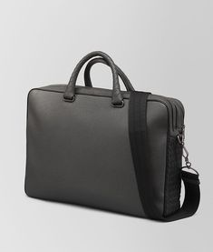 92ed69bc8b6 Bottega Veneta®   Light Grey Cervo Briefcase   The modern, square shape of  this messenger bag is highlighted by a sophisticated bicolor combination.
