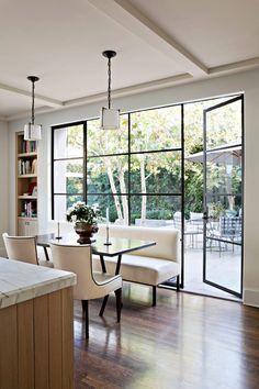 steel frame doors and windows by studio william hefner eat in kitchen