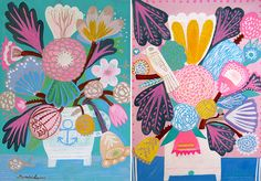 Boho Garden by Erica in Art Spanish artist Mercedes Lagunas' series of acrylic paintings overwhelm me with glee. I want to experience a world where birds are so beautifully patterned and flowers are contentedly overgrown and colorfully vibrant. And for $15 a print, I'm so glad I can . . .