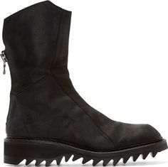 Julius Black Coated Leather High-Zip Boots