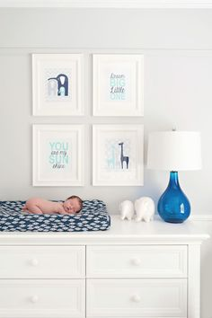 Sweet Baby Boy Nursery - love this clean design with pops of blue and aqua