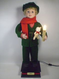 Vintage Christmas Holiday Young Boy Caroler Motionette Smile Industries