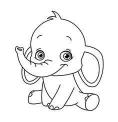 Cute Baby Elephant Animal Coloring Page For Kids Pages Printables Free