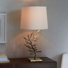"""Botanical Metal Table Lamp #westelm, 14""""dia x 27""""h, metal base in antique finish, white linen shade, 60w incandescent, on/off switch on cord, $149 on sale (reg $199)"""