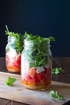 Watermelon, Feta and Arugula Mason Jar Salads | sweetpeasandsaffron.com @sweetpeasaffron