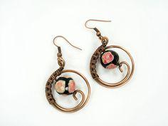 Wire wrapped handmade earrings earings in by MargoHandmadeJewelry