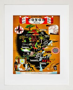 Art Congo Africa Poster Travel Print Vintage by Blivingstons, $8.99