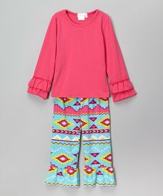Love this Pink Ruffle Tunic & Aqua Flare Pants - Infant, Toddler & Girls on #zulily! #zulilyfinds