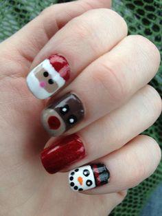 Santa, Rudolph, Snowman nails