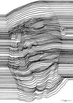 op art, printmaking, contour drawing, line drawing art, Optical Illusions Drawings, Illusions Mind, Illusion Drawings, Art Optical, 3d Drawings, Drawing Sketches, Optical Illusion Art, Drawing Portraits, Tattoo Sketches