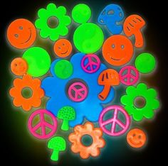 Groovy Sixties Shape Glow in the Dark Wall Decorations (24 pack): http://www.amazon.com/Groovy-Sixties-Shape-Glow-Decorations/dp/B0043G40DU/?tag=greavidesto05-20