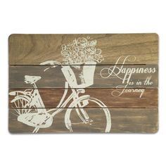 Happiness Bicycle Plaque. This ever-popular pallet sign design boasts an iconic bicycle and a heartfelt sentiment. The art is screen printed on real wood that has been stained for a rustic look.