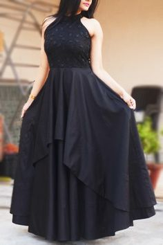 Dresses - Black Padded Double Flair Embroidered Dress Buy this dress from www colorauction com at just blackdress western longdress black colorauction Long Gown Dress, Lehnga Dress, Buy Dress, Saree Gown, Indian Gowns Dresses, Pakistani Dresses, Evening Dresses, Prom Dresses, Indian Designer Outfits