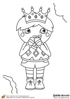 Dessin à colorier d'un petit garçon qui mange une galette des Rois - Hugolescargot.com
