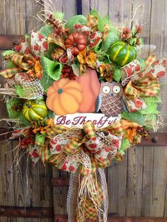 Be Thankful Mesh Wreath on Etsy, $95.00