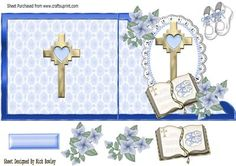 A lovely christening or Baptism on lace in blue edge on Craftsuprint - Add To Basket!