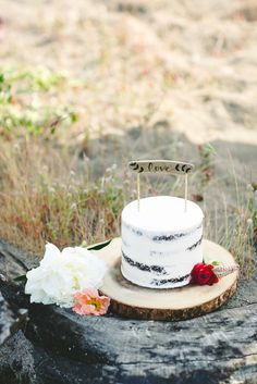 bohemian rustic bridal and wedding inspiration  // naked wedding cake by www.dreamcakesportland.com