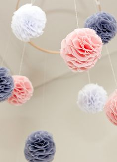 Baby Mobile  Pink Grey and White Pom Poms