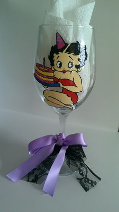 hand painted betty boop birthday glass by Deziray on Etsy, $28.00
