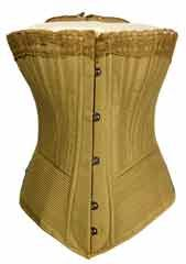 "Woman's Corset, 1890  (Ref:L.C712.1980.107.0)    The ""Pretty Housemaid"" corset was produced by the Symington company and was one of the best-selling corsets of its day. It was advertised as the ""strongest and cheapest corset ever made""....It demonstrates that young, working class women were a recognised consumer group with a small disposable income and an interest in fashion."