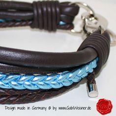 Hundehalsband Leder 5-reihig 3,8 cm breit