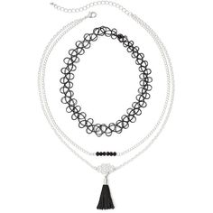 Decree Stretch Bracelet and 2-Row Choker Necklace Set ($6.99) ❤ liked on Polyvore featuring jewelry, necklaces, long chain necklace, tassel necklace, beaded choker, tassle necklace and tassel jewelry