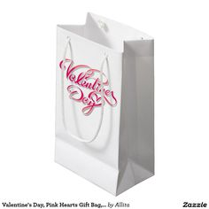 Valentine's Day, Pink Hearts Gift Bag, white Small Gift Bag