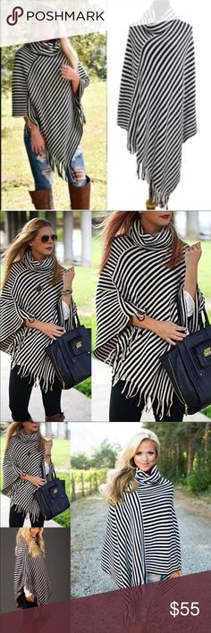 ONLY 2 LEFT-Beautiful Black & White Striped Poncho 100% acrylic perfect for fall! Wear with jeans and some booties or leggings with knee high boots! I love this Poncho so much I even kept one for myself!!! Sweaters Shrugs & Ponchos