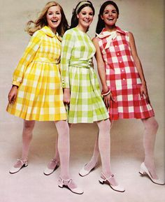 Gingham fashions in Seventeen magazine, March 1968.
