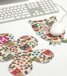 #upcycle fabric by creating adorable mouse pads! Visit Joann.com or JoAnn Fabric and Craft stores for supplies.