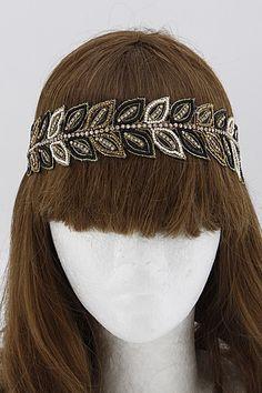 Leaf Design Beaded Headband