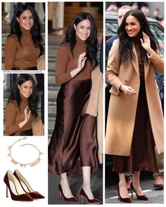 Duchess of Sussex first look of the decade 🖤 . For Harry and Meghan's visit to Canada House today, Meghan wore: - Coat: REISS Sabel Slim… Leather Shirt Dress, Belted Shirt Dress, Tee Dress, Estilo Meghan Markle, Meghan Markle Style, Metallic Formal Dresses, Meghan Markle Outfits, Kate And Meghan, Prinz Harry