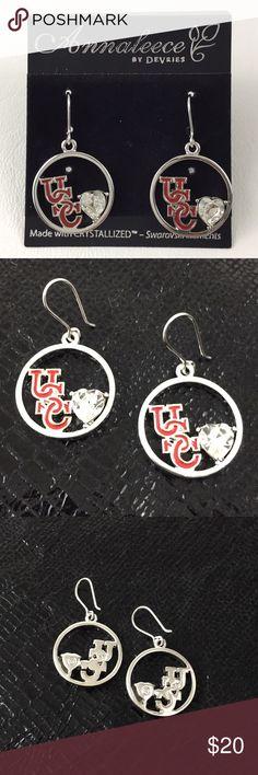USC Trojan Dangle Earrings.    B1 Annaleece by DeVries USC Trojan Dangle Earrings. Silver with Red USC.  New without tag. Annaleece Jewelry Earrings