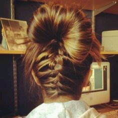 cute hairstyle for those lazy days. inverted braid with a bun on top