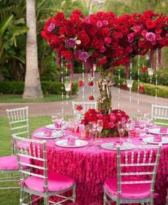 Hot Pink Garden Wedding Decors ♥ Red Roses and Diamond Garland Acrylic Crystal Beads Wedding Centerpiece #1901173 | Weddbook