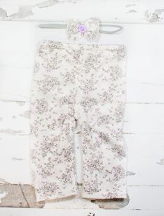 Lovely Lavender Fields - adorable pair of newborn pants in white, lavender purple, and grey with coordinating headband by SoTweetDesigns on Etsy