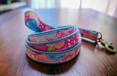 "Japanese Style Pink blue red sakura flower Dog Leash, Dog Lead, 3/4"" webbing"