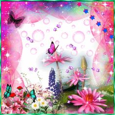 Animated Roses and Butterflies | Tags: colorful butterflies flowers animated