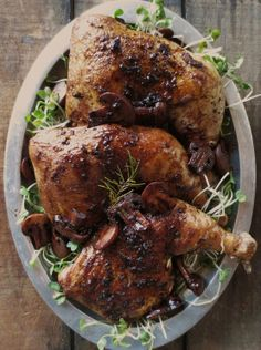 Ingredients:    4 chicken leg quarters, or breasts (with skins)  ¼ cup of flour  1 tbsp of butter  3 tbsp. of extra virgin olive oil  8 ounces of porcini mushrooms  2 cloves of garlic  1 teaspoon of fresh rosemary (chopped)  ½ cup of balsamic vinegar  1 cup of DaVinci Chianti  Sea salt and cracke