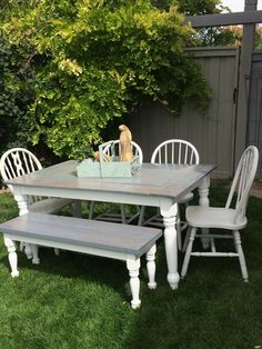 Secondhand Chic Furniture farmhouse table set chairs bench painted weathered grey stained & Rustic Farmhouse Table Set! Cream and Mint and a warm Brown! | DIY ...