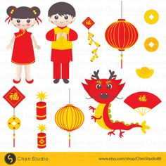 Chinese New Year vector - Digital Clipart - Instant Download - EPS, Pdf and PNG files included by ChenStudio88 on Etsy https://www.etsy.com/listing/250286835/chinese-new-year-vector-digital-clipart