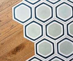 Hexagonal encaustic tiles Wavy lines