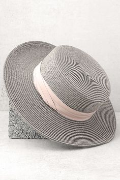 Wyeth Sam Hat - Grey Straw Hat - Sun Hat - Boater Hat -  43.00 Boater ef2831c17aa8