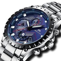 116acf94427 Herren Uhren Armbanduhr Militär Chronograph Luxus Wasserdicht Datum  Kalender Edelstahl Männer Uhren Sport Multifunktions Stopuhr Mode